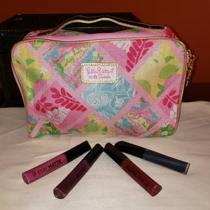 Lilly pulitzer cosmetic bag & Rimmel lippies